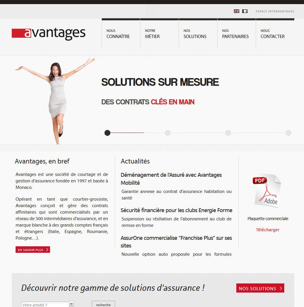 Création site internet à Monaco pour AVANTAGES, assurances affinitaires