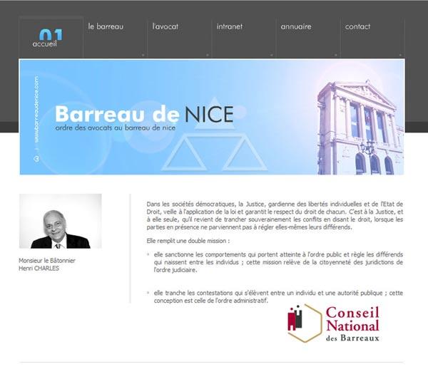 Création site internet à Nice pour le Barreau de Nice
