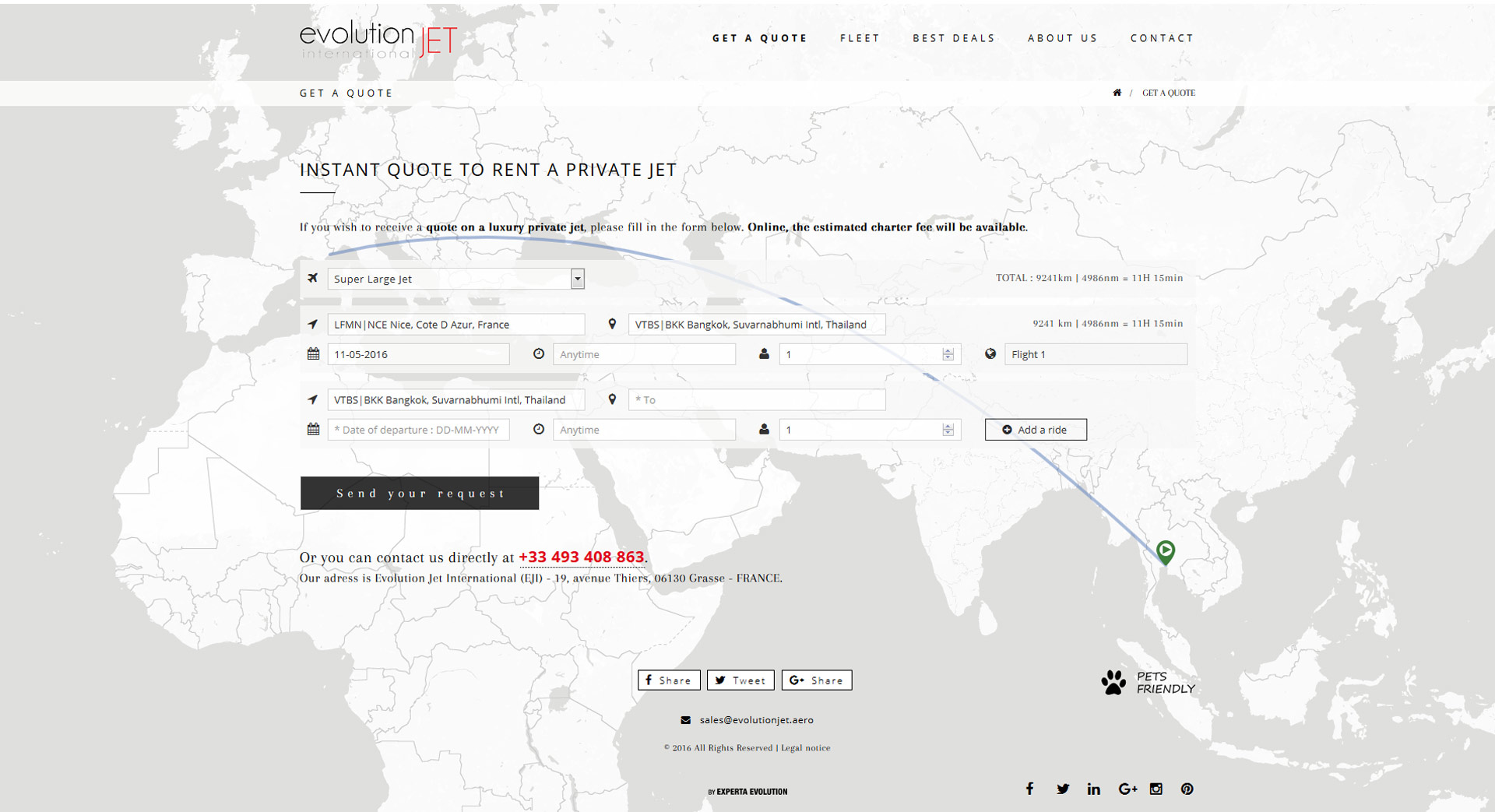 Création site internet pour Evolution Jet International