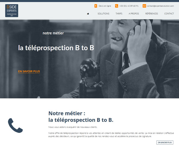Site Internet Téléprospection B2B DSIDE Experts