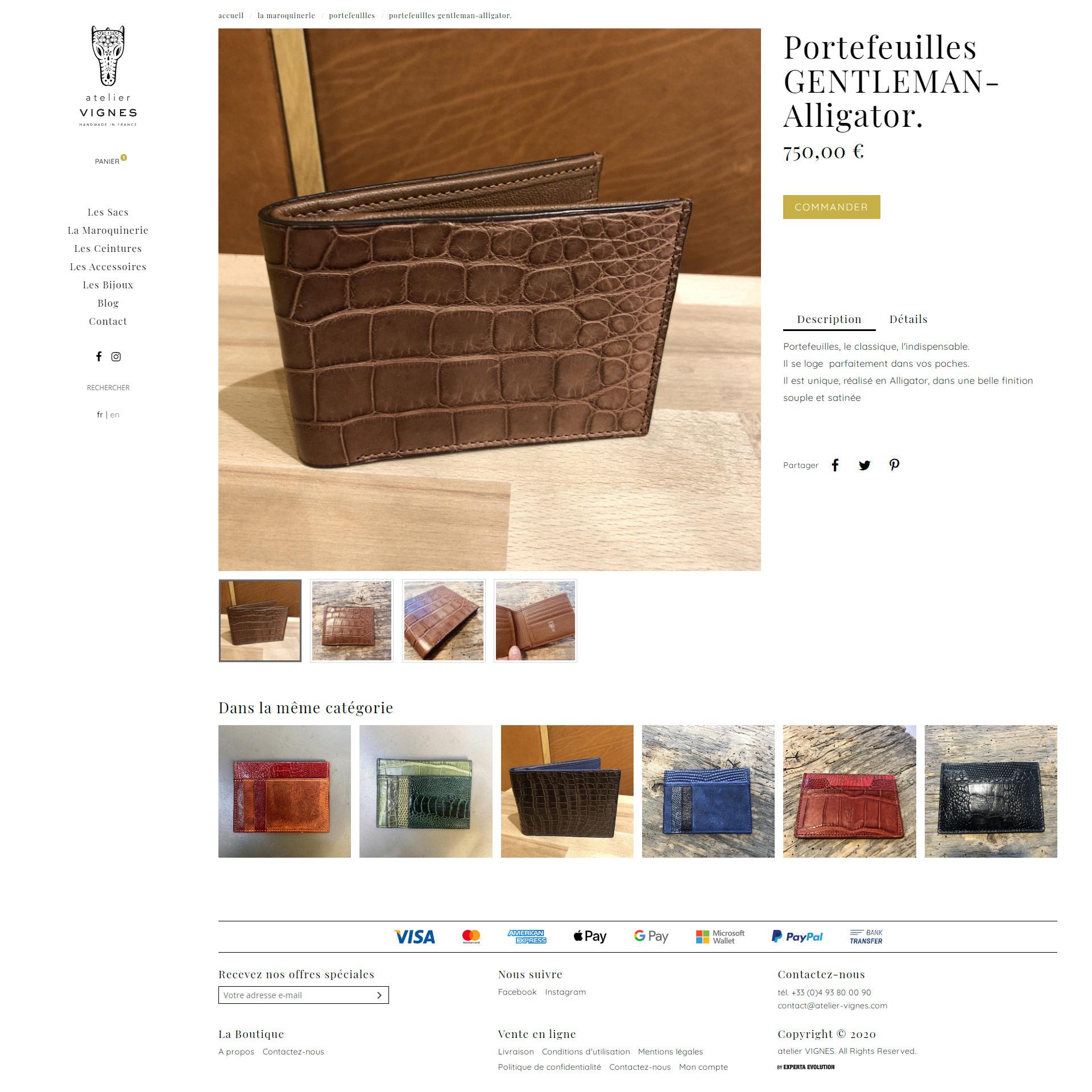 Création site internet c-commerce à Nice pour Vignes Maroquinerie