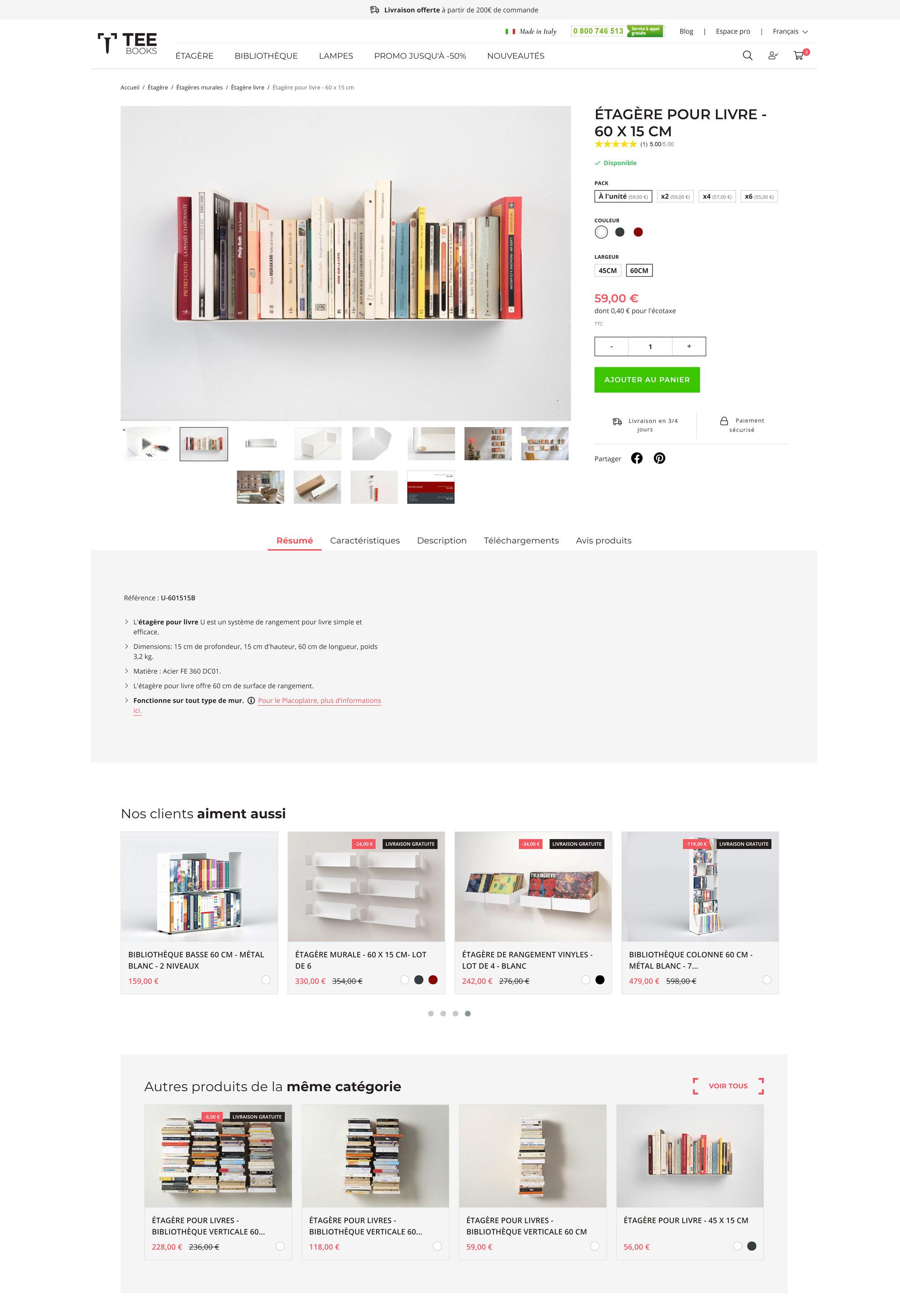 Création site internet e-commerce à Nice pour TEEbooks, Étagères Design