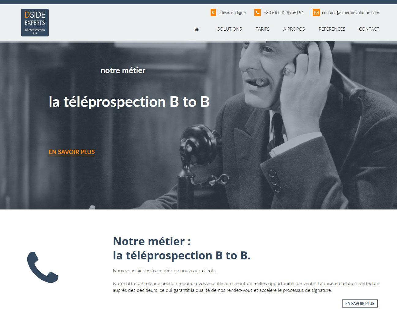 Site Internet Téléprospection B2B DSIDE Experts